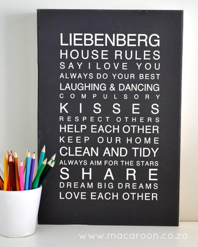 Personalised House Rules Canvas