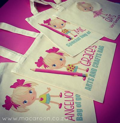 "Personalised ""Mac Mates"" Girls Tote Bags"