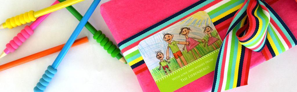 Do you have a budding artist use your unique kids art to personalise your gift stickers