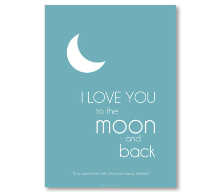 Moon & Back - Blue - Nursery Art